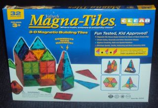 Valtech Magna Tiles 32 Piece Clear Colors Set Brand New Factory SEALED
