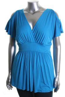 Mai Tai New Blue V Neck Open Shoulder Pullover Top Shirt Plus 3X BHFO