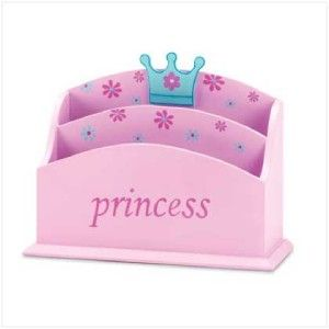 Pink Princess Wood Mail Organizer Girls Room Decor