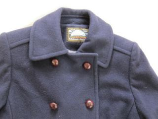 Mackintosh USA Authentic Pea Coat navy blue wood buttons Small 100%