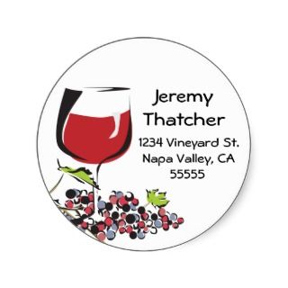 Wine and Grape Address Label Sticker
