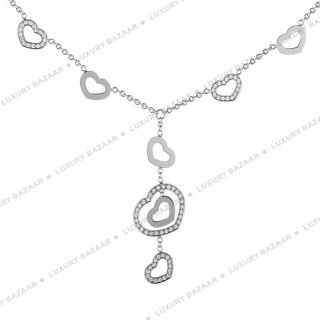 Chopard 18K White Gold Diamond Open Heart Charm Necklace