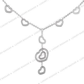 Chopard 18K White Gold Diamond Open Heart Charm Necklace