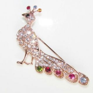 Peacock Austrian Rhinestone 18K Gold GP Brooch Pin Wedding Bride