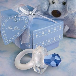 50 Choice Crystal Blue Pacifier Baby Shower Favors