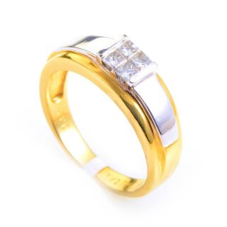 Mens 14k White Yellow Gold Invisible Set Diamond Ring
