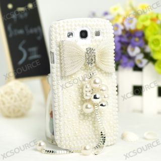 3D Silver bow full pearl bling case for Samsung galaxy s 3 i9300 cover