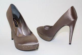 Rinalda Platform Dress Pumps Heels Satin Malinda Taupe Pewter