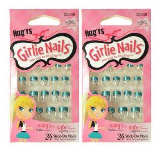 BOXES  48 Fingrs GIRLIE NAILS Little Girl STICK ON NAILS Blue