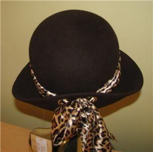 Ladies Womans Magid DK Brown Wool Cloche Hat Cap w Leopard Scarf Band