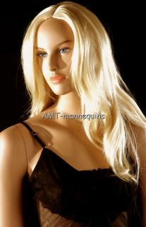 Full Lace Wigs Long Blonde Wig on Our Manikin Nancy