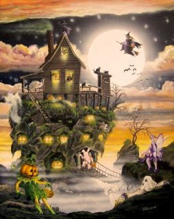 Halloween Art Haunted Swamp House Ghosts Witches Skeleton Cats Byrum