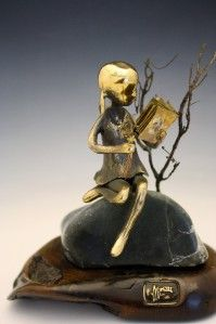 BRONZE OF A YOUNG GIRL READING A BOOK BY MALCOLM MORAN NO RESERVE