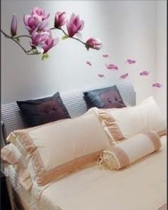 Large Pink Purple Magnolia Flowers Mural Art Decal Wall Stickers Wall