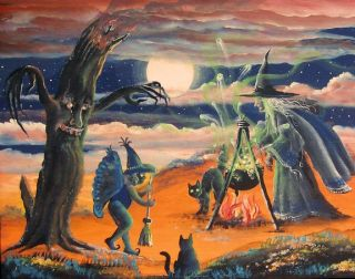 Folk Art Halloween Witch Stirring Cauldron Cat Fairy Tree Print HA31