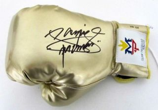 Manny Pacquiao Autographed Gold Team Pacquiao Boxing Glove PSA