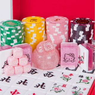 Gift Hello Kitty Large Size Mahjong Game Pink Set Tablecloth Included
