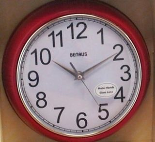 Benrus Retro Vintage Style Wall Clock Red 10 Front Side Views New in