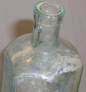 Vintage Pepto Mangan Gude 6 Sided Green Medicine Bottle