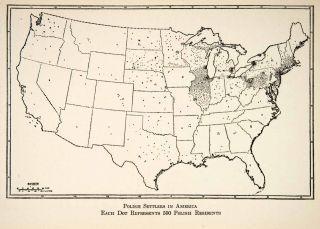 1928 Lithograph Map United States Polish Settler North America Census