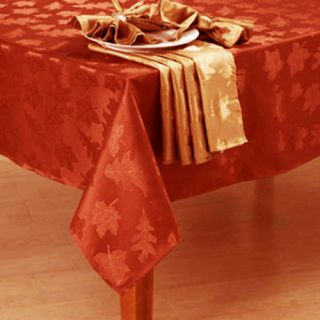 Maple Damask Fall Spice Leaves Leaf Fabric Dining Tablecloth