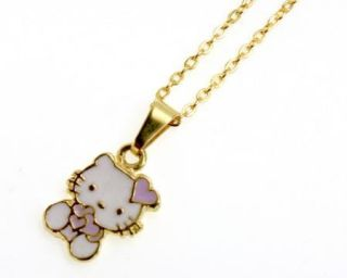 Gold 18K GF Huggie Earrings Purple Lilac Hello Kitty Girl Kids Pendant