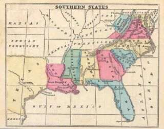 USA 1858 East Seaboard Southern States Old Antique Map Sarah Cornell