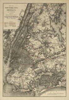 New York City Brooklyn Long Island RR 1885 Map