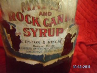 1906 R Co Park Brand Maple Rock Candy Syrup Bottle Bangor Maine