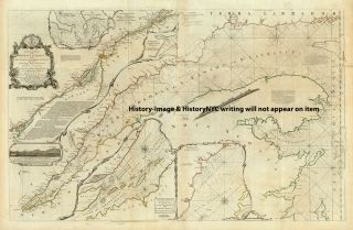 1776 Large British Wall Map St Lawrence River Map