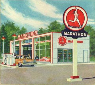 RARE Vintage Marathon Gas Oil Station Porcelain Enamel Sign Letters