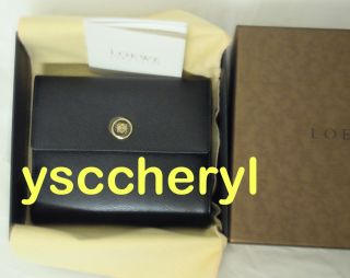Loewe French Flap Style Wallet New with Box Black in Calf Leather So
