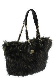 Marc Fisher Black Faux Fur Lined Double Handle Satchel Handbag BHFO