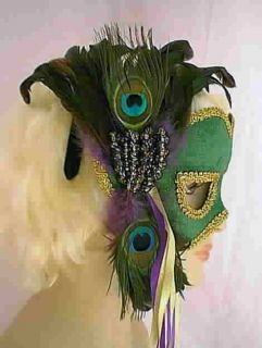 Mardi Gras Green Velvet Face Mask w Peacock Feathers