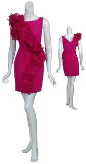 Marchesa Notte Magenta Silk Ruffle Cocktail Evening Dress 0 New