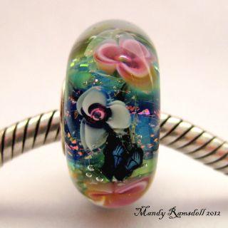Monets Water Lilies Sterling Silver Core European Charm Lampwork