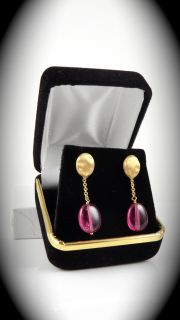 Marco Bicego 18 Karat Yellow Gold Earrings with Pink Stones
