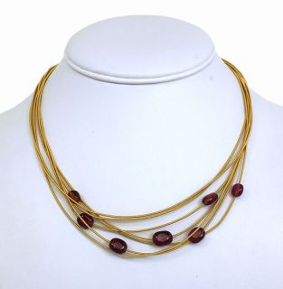 Marco Bicego 18K Gold Ruby Ladies Stylish Multi STRND Necklace