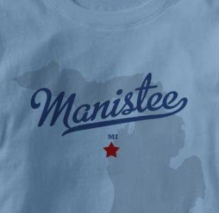 Manistee Michigan MI Map Souvenir T Shirt Large Blue