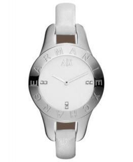 Armani Exchange Watch, Womens Black Leather Strap 30mm AX4125