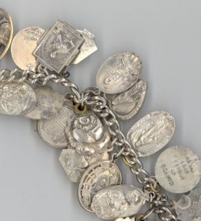 Antique Sterling Silver Charm Bracelet 26 Religious Charms Many Diff