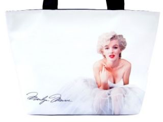 Marilyn Monroe Ballerina Signature Wide Tote Shoulder White Bag Purse