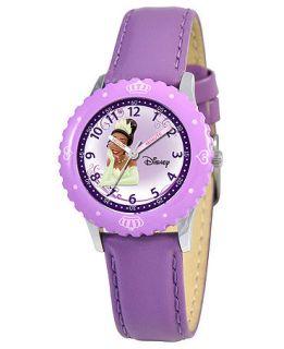 Disney Watch, Kids Tiana Time Teacher Purple Leather Strap 31mm