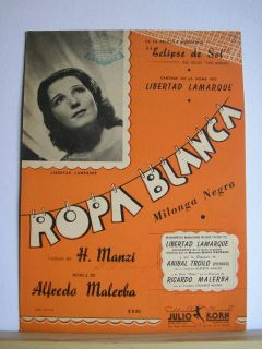 Ropa Blanca Tango Sheet Music Manzi Malerba
