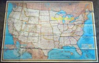Large Wall Map of The United States 43 x 30 1976 National Geographic