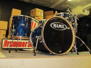 Mapex Pro M Liquid Blue Pearl Drum Set 4 Piece Shell Pack Maple Drums