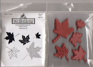 Maple Leaves 5 EZ Mounted Rubber Stamps