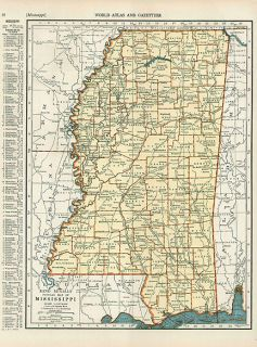 Mississippi Depression Era Vintage Map Authentic 1938