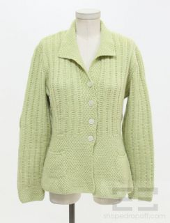 Marion Foale Green Knit Button Front Long Sleeve Cardigan
