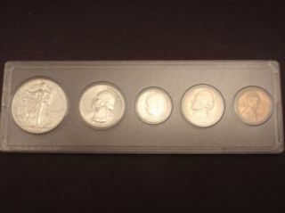 1946s US Coin Set 90 Silver Standing Liberty Quarter Dime Nickel Penny